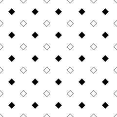 Repeating abstract black and white square pattern - vector background graphic from diagonal squares