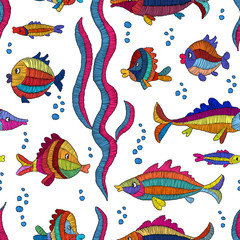 Cartoon embroidered fish on a white background - seamless pattern. Prints for textiles. Handmade.
