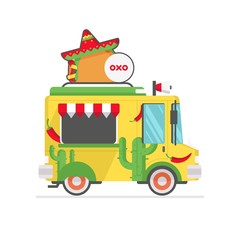 mexican food truck icon vector illustration