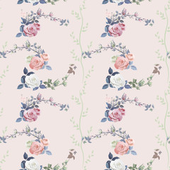 Vector square floral seamless pattern, branch white, red, pink rose, bouquet garden flowers, buds, leaves on pink background, illustration for fabric, wallpaper, wrapping, pastel colored, vintage
