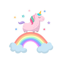 Cute pink unicorn and rainbow vector isolated on white. Unicorn magic design
