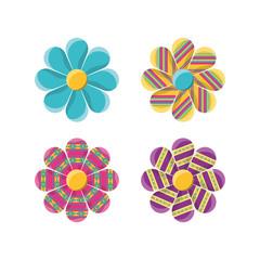 flat decoration flowers with ornamental symbols