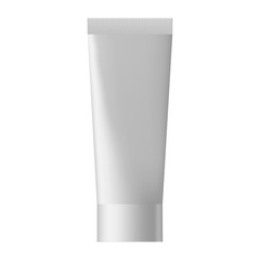 Vector blank templates of empty and clean white plastic container.  White glossy plastic tube for medicine or cosmetics. Illustration. Realistic 3d mock-up of cosmetic package.