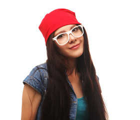 Close up studio portrait of cheerful   hipster girl going crazy