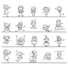 Set of hand drawing abstract happy cute kids line art