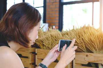 Woman taking photo with mobile phone, young thai girl take photo grass flower dry with cell phone at cafe