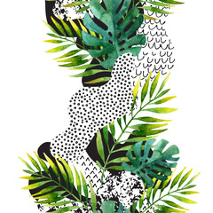 Poster de jardin Empreintes Graphiques Abstract summer tropical leaves background.