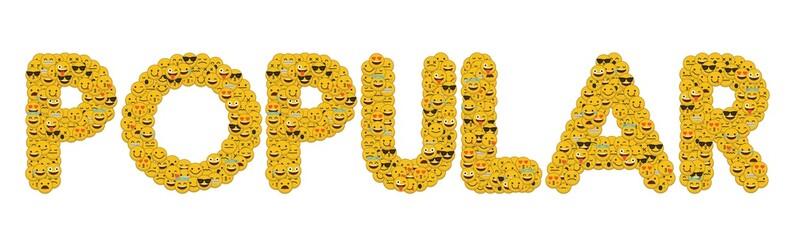 The word popular written in social media emoji smiley characters
