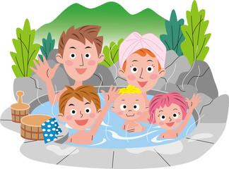 家族で温泉に入ってます 春 夏