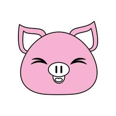 Flat line pink pig over white background vector illustration