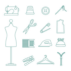 sewing line icons set
