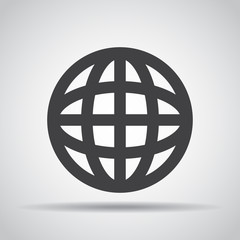 Globe icon with shadow on a gray background. Vector illustration