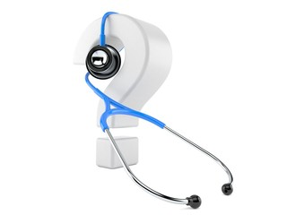 Stethoscope with question mark