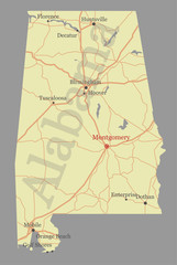 Alabama vector State Map with Community Assistance and Activates Icons Original pastel Illustration isolated on gray background.