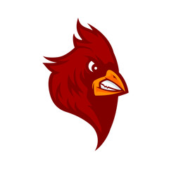 red cardinal bird vector graphic logo, mascot, character image