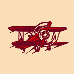 vintage retro red baron airplane vector image
