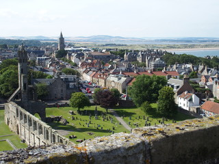 St Andrews city in Scotland with view on ruins of gothic cathedral