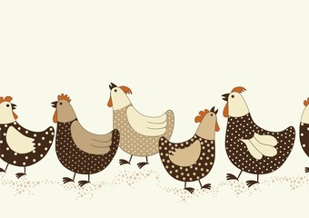 Seamless pattern with chicken cartoon