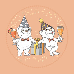 Two cute bears in party hats on rose background.