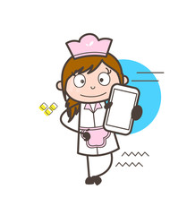 Cartoon Female Waitress Showing Mobile Phone Vector