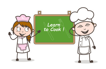 Cartoon Happy Chef and Waitress with Info Banner Vector