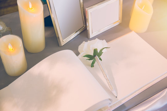 wedding memory guest book empty space for writing bless love good times memo