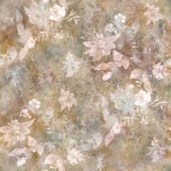 Akwarela obraz liść i kwiaty, bezszwowy wzór