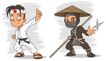 Cartoon karate boy and ninja characters vector set