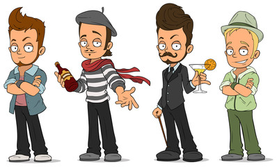 Cartoon handsome guys with alcohol characters set