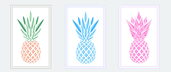 three multicolor pineapples in the frames on the grey background, horizontal