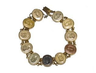 Antique Bangle Bracelet on White Background