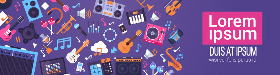 Music Instruments And Equipment Electronics Icons Banner With Copy Space Flat Vector Illustration Wall mural
