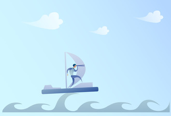 Business Man Sailing On Boat Looking With Binocular On Future Opportunity Businessman Leader Success Concept Vector Illustration