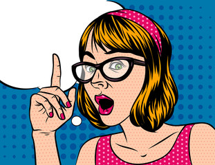 A girl with short hair in shocked emotions. A woman with glasses holds a hand to her face. The girl points a finger up. Surprised face with a speech bubble over the background of the style of pop art