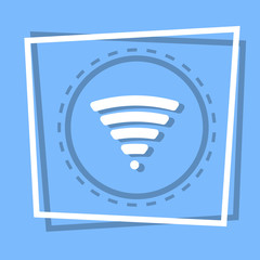 Wifi Icon Wireless Internet Connection Web Button Flat Vector Illustration