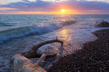 Sea surf on a stony beach.