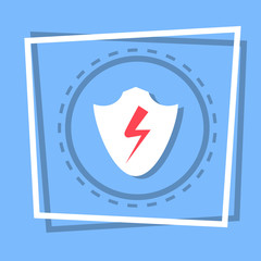 Shield Icon Data Protection Web Button Flat Vector Illustration