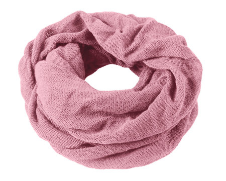 Pale rose soft winter snood scarf isolated on white