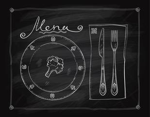 Chalkboard menu list design, hand drawn graphic vector illustration