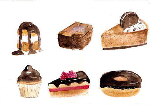 Sweet cakes watercolor illustration