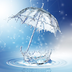 Water splash in the form of a umbrella.