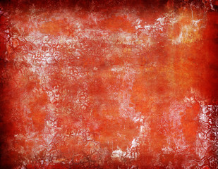Abstract Background Orange Red Scratched Painted Wall