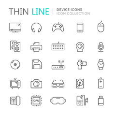 Collection of device thin line icons