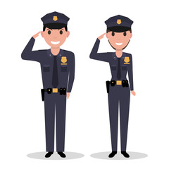 Vector cartoon policeman and police woman salutes