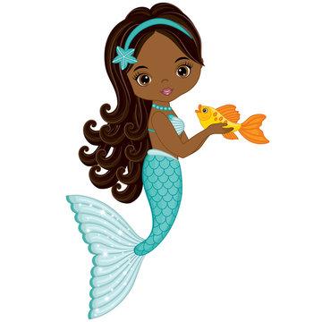 Vector Cute Little Mermaid with Fish. Vector African American Mermaid