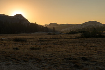Autumn sunset at Tuolumne Meadow on Tioga Pass, Yosemite