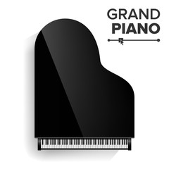 Grand Piano Vector. Realistic Black Grand Piano Top View. Isolated Illustration. Musical Instrument.