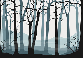 Vector seamless misty forest scene - wallpaper or background