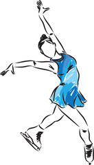 woman ice skater illustration 2