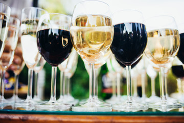 Many glasses of different wine on table